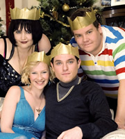 Gavin & Stacey. Image shows from L to R: Nessa (Ruth Jones), Stacey (Joanna Page), Gavin (Mathew Horne), Smithy (James Corden). Copyright: Baby Cow Productions.