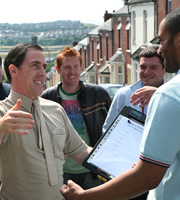 Gavin & Stacey. Image shows from L to R: Bryn (Rob Brydon), Gavin (Mathew Horne). Copyright: Baby Cow Productions.