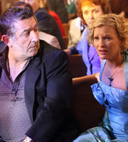 Gavin & Stacey. Image shows from L to R: Neil (Ifan Huw Dafydd), Stacey (Joanna Page). Copyright: Baby Cow Productions.