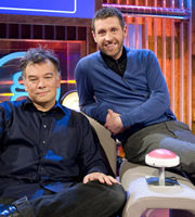 Genius With Dave Gorman. Image shows from L to R: Stewart Lee, Dave Gorman. Image credit: British Broadcasting Corporation.