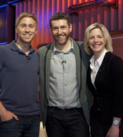 Genius With Dave Gorman. Image shows from L to R: Russell Howard, Dave Gorman, Hazel Irvine. Image credit: British Broadcasting Corporation.