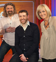 Genius With Dave Gorman. Image shows from L to R: The Hairy Bikers, Dave Gorman, Jane Moore. Image credit: British Broadcasting Corporation.
