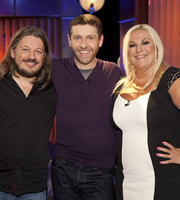 Genius With Dave Gorman. Image shows from L to R: Richard Herring, Dave Gorman, Vanessa Feltz. Image credit: British Broadcasting Corporation.
