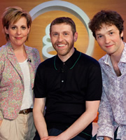 Genius With Dave Gorman. Image shows from L to R: Mel Giedroyc, Dave Gorman, Chris Addison. Image credit: British Broadcasting Corporation.