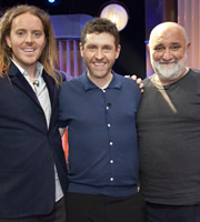 Genius With Dave Gorman. Image shows from L to R: Tim Minchin, Dave Gorman, Alexei Sayle. Image credit: British Broadcasting Corporation.