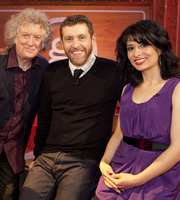 Genius With Dave Gorman. Image shows from L to R: Noddy Holder MBE, Dave Gorman, Shappi Khorsandi. Image credit: British Broadcasting Corporation.
