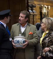 The Green Green Grass. Image shows from L to R: Security Guard (Dan Skinner), Boycie (John Challis), Marlene Boyce (Sue Holderness). Copyright: Shazam Productions.