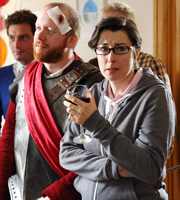 Heading Out. Image shows from L to R: Daniel Maynard (Steve Oram), Sara Ford (Sue Perkins). Copyright: Red Production Company / Square Peg TV.