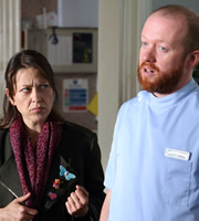 Heading Out. Image shows from L to R: Justine (Nicola Walker), Daniel Maynard (Steve Oram). Copyright: Red Production Company / Square Peg TV.