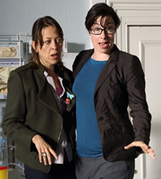 Heading Out. Image shows from L to R: Justine (Nicola Walker), Sara Ford (Sue Perkins). Image credit: Red Production Company.