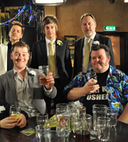 Hebburn. Image shows from L to R: Gervaise (Neil Grainger), Ramsey (Jason Cook), Jack Pearson (Chris Ramsey), Joe Pearson (Vic Reeves), Big Keith (Steffen Peddie). Copyright: Channel X North / Baby Cow Productions.