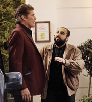 Hoff The Record. Image shows from L to R: Hoff (David Hasselhoff), Terry Patel (Asim Chaudhry). Image credit: Me & You Productions.