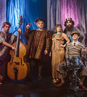 Horrible Histories. Image shows from L to R: Jim Howick, Ben Willbond, Martha Howe-Douglas, Simon Farnaby, Mathew Baynton. Image credit: Lion Television.