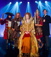 Horrible Histories. Image shows from L to R: Jim Howick, Simon Farnaby, Martha Howe-Douglas, Mathew Baynton, Ben Willbond. Image credit: Lion Television.