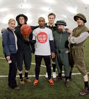 Horrible Histories With Stephen Fry. Image shows from L to R: Martha Howe-Douglas, Laurence Rickard, Jermain Defoe, Ben Willbond, Jim Howick, Mathew Baynton. Image credit: Lion Television.
