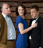 How Not To Live Your Life. Image shows from L to R: Harrison (Rupert Vansittart), Harriet (Jessica Knappett), Don Danbury (Dan Clark). Copyright: Brown Eyed Boy.
