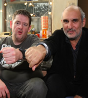 Ideal. Image shows from L to R: Moz (Johnny Vegas), Alan Yentob. Copyright: Baby Cow Productions.