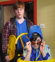 Ideal. Image shows from L to R: Jake (Danny Morgan), Judith (Joanna Neary). Copyright: Baby Cow Productions.