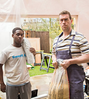 In And Out Of The Kitchen. Image shows from L to R: Steven (Ade Oyefeso), Mr. Mullaney (Brendan Dempsey). Copyright: BBC.