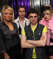 The Inbetweeners. Image shows from L to R: Charlotte Hinchcliffe (Emily Atack), Simon Cooper (Joe Thomas), Will Mackenzie (Simon Bird), Carli D'Amato (Emily Head). Image credit: Bwark Productions.
