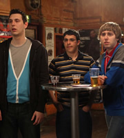 The Inbetweeners. Image shows from L to R: Neil Sutherland (Blake Harrison), Will Mackenzie (Simon Bird), Jay Cartwright (James Buckley). Image credit: Bwark Productions.