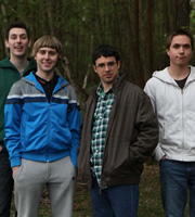 The Inbetweeners. Image shows from L to R: Neil Sutherland (Blake Harrison), Jay Cartwright (James Buckley), Will Mackenzie (Simon Bird), Simon Cooper (Joe Thomas). Image credit: Bwark Productions.