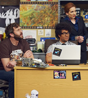 The IT Crowd. Image shows from L to R: Roy (Chris O'Dowd), Moss (Richard Ayoade), Jen (Katherine Parkinson). Copyright: TalkbackThames.