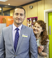 The Job Lot. Image shows from L to R: Greg (Will Mellor), Trish (Sarah Hadland). Copyright: Big Talk Productions.