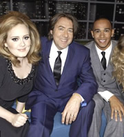 The Jonathan Ross Show. Image shows from L to R: Adele Adkins, Jonathan Ross, Lewis Hamilton. Copyright: Hot Sauce / ITV Studios.