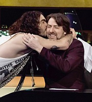 The Jonathan Ross Show. Image shows from L to R: Russell Brand, Jonathan Ross. Copyright: Hot Sauce / ITV Studios.