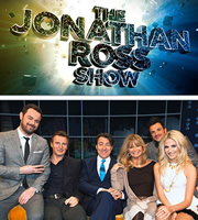 The Jonathan Ross Show. Image shows from L to R: Danny Dyer, Liam Neeson, Jonathan Ross, Goldie Hawn, Peter Andre, Pixie Lott. Copyright: Hot Sauce / ITV Studios.