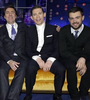 The Jonathan Ross Show. Image shows from L to R: Jonathan Ross, Lee Evans, Jack Whitehall. Copyright: Hot Sauce / ITV Studios.
