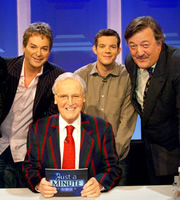 Just A Minute. Image shows from L to R: Julian Clary, Nicholas Parsons, Russell Tovey, Stephen Fry. Copyright: BBC.