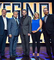 Kevin Bridges Live At.... Image shows from L to R: Hal Cruttenden, Jack Dee, Kevin Bridges, Kerry Godliman, Frankie Boyle. Copyright: Open Mike Productions.