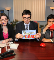 The King Is Dead. Image shows from L to R: Katy Wix, Simon Bird, Nick Mohammed. Image credit: TalkbackThames.