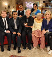 The Kumars. Image shows from L to R: James Corden, Sanjeev (Sanjeev Bhaskar), Ashwin (Vincent Ebrahim), Terry Gilliam, Hawney (Harvey Virdi), Ummi (Meera Syal), Lesley Hornby. Copyright: Hat Trick Productions / Avatar.