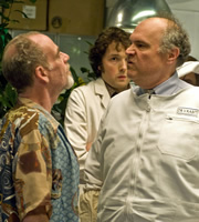 Lab Rats. Image shows from L to R: Professor John Mycroft (Geoffrey McGivern), Dr Alex Beenyman (Chris Addison), Dr Vaabit (Mike McShane). Copyright: BBC.