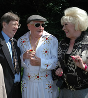 Last Of The Summer Wine. Image shows from L to R: Barry Wilkinson (Mike Grady), Howard Sibshaw (Robert Fyfe), Marina (Jean Fergusson). Copyright: BBC.
