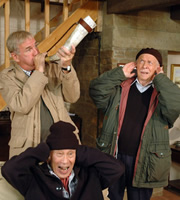 Last Of The Summer Wine. Image shows from L to R: Luther 'Hobbo' Hobdyke (Russ Abbot), Entwistle (Burt Kwouk), Alvin Smedley (Brian Murphy). Copyright: BBC.