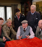 Last Of The Summer Wine. Image shows from L to R: Alvin Smedley (Brian Murphy), Luther 'Hobbo' Hobdyke (Russ Abbot), Entwistle (Burt Kwouk), Howard Sibshaw (Robert Fyfe), Herbert 'Truly' Truelove (Frank Thornton), Norman Clegg (Peter Sallis). Copyright: BBC.