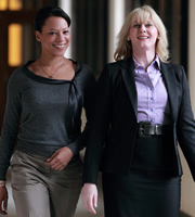 Last Tango In Halifax. Image shows from L to R: Kate (Nina Sosanya), Caroline (Sarah Lancashire). Image credit: Red Production Company.