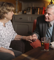 Last Tango In Halifax. Image shows from L to R: Celia (Anne Reid), Alan (Derek Jacobi). Image credit: Red Production Company.