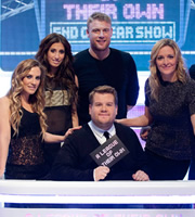 A League Of Their Own. Image shows from L to R: Georgie Ainslie, Stacey Solomon, James Corden, Andrew Flintoff, Gabby Logan. Copyright: CPL Productions.