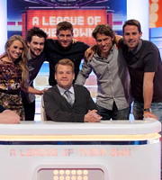 A League Of Their Own. Image shows from L to R: Georgie Ainslie, Jack Whitehall, Steven Gerrard, James Corden, John Bishop, Jamie Redknapp. Copyright: CPL Productions.