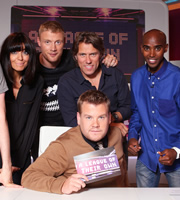 A League Of Their Own. Image shows from L to R: Claudia Winkleman, Andrew Flintoff MBE, John Bishop, James Corden, Mo Farah. Copyright: CPL Productions.