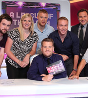 A League Of Their Own. Image shows from L to R: Jack Whitehall, Rebecca Adlington, Andrew Flintoff, James Corden, Christopher Hoy, David Walliams. Copyright: CPL Productions.
