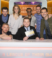 A League Of Their Own. Image shows from L to R: Jack Whitehall, Andrew Flintoff, Amy Williams, James Corden, Edgar Davids, Jamie Redknapp, Jimmy Carr. Copyright: CPL Productions.