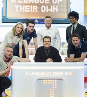 A League Of Their Own. Image shows from L to R: Andrew Flintoff, Paula Radcliffe, Jack Whitehall, James Corden, Chris Ashton, Richard Ayoade, Jamie Redknapp. Copyright: CPL Productions.