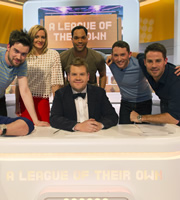 A League Of Their Own. Image shows from L to R: Jack Whitehall, Gabby Logan, James Corden, Joleon Lescott, Jon Richardson, Jamie Redknapp. Copyright: CPL Productions.