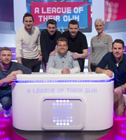 A League Of Their Own. Image shows from L to R: Andrew Flintoff, Frank Lampard, Jack Whitehall, James Corden, Kevin Bridges, Judy Murray, Jamie Redknapp. Copyright: CPL Productions.